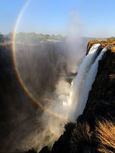 At Victoria Falls, the Zambezi River plunges into basalt gorges.    Photograph by Christian Heeb, laif/Redux