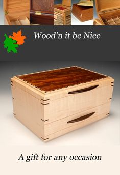 Finely crafted wood jewelry box made of figured maple and African cherry veneers. Lots of flexible storage options. Carefully construction using premium materials, the box will be sure to last a lifetime. 5th Wedding Anniversary, Jewellery Box Making, Wooden Jewelry Boxes, Wood Art, Cherry, African, Construction, Nice, Storage