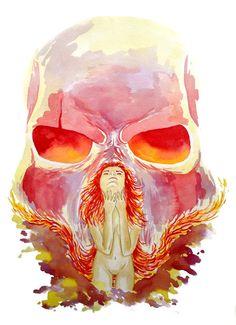"""""""Silent Scream"""" 12 3/4'' x 18 1/2''. watercolor"""