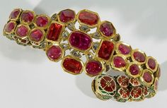 Gold, ruby, diamond and spinel bracelet.