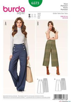 Trendy Sewing Pants For Women Diy Wide Legs Burda Patterns, Easy Sewing Patterns, Clothing Patterns, Clothing Ideas, Shirt Patterns, Dress Patterns, Wide Leg Trousers, Trousers Women, Pants For Women