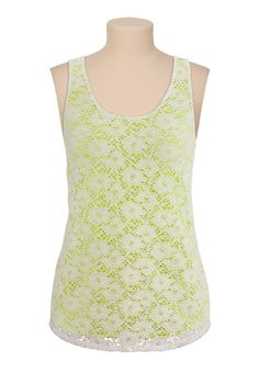 Lace tank with colored lining - maurices.com