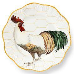 Alberto Pinto Plumes dinner plates, set of 6 Rooster Plates, Rooster Decor, Rooster Kitchen, China Painting, Ceramic Painting, Dinner Plate Sets, Dinner Plates, Animal Plates, Decoupage Plates