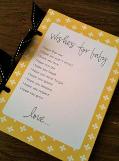 """""""guests fill this out, bind into a book"""" - great idea for a baby shower Cute Baby Shower Ideas, Baby Boy Shower, Shower Party, Baby Shower Parties, Baby Showers, Naming Ceremony Invitation, Chore Cards, March Baby, Baby Shower Checklist"""