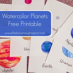 Watercolor Planets Free Printable - Perfect Montessori inspired art cards to go along with a space unit!