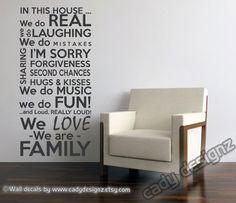 Family Rules Vinyl Wall Decal - In This House We Do - Subway Art - House Rules - Wall Art - Vinyl Lettering - Medium - 23x48