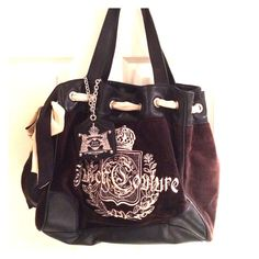"Juicy Couture Black Daydreamer Tote Bag Roomy bag with 8"" double shoulder straps, magnetic closure, and Scotty embroidery. There is an outside pocket on one side, a large zip pocket for cash & change on the interior as well as 2 slip pockets for cellphone, etc. Juicy Couture Bags Totes"