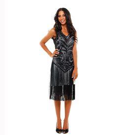 1920's THE SABLE Black Beaded V Dropped Waist and Fringe Skirt Flapper Dress #uniquevintage