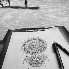 Lotus, sun, and moon for @mischmell_ #drawing #sketch #custom #tattoo #design #mandala #dotwork #jungle #rainforest #river #travelling #traveller #switzerland #north #sumatra #indonesia