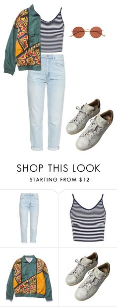 """We'll go down in history."" by dafne16 ❤ liked on Polyvore featuring M.i.h Jeans, Topshop, adidas and Oliver Peoples"