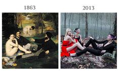 "Lunch on the Grass by Edouard Manet, 1863 & Christian Dior's Luncheon on the Grass Still from ""Secret Garden 2 — Versailles,"" by Inez van Lamsweerde and Vinoodh Matadin for Christian Dior Fall 2013"
