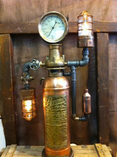 By Steamage design steampunk fire extinguisher lamp sold $1,150