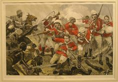 hand colored newspaper etching of THE BATTLE OF ABOU KLEA: REPULSE OF THE ARAB CHARGE