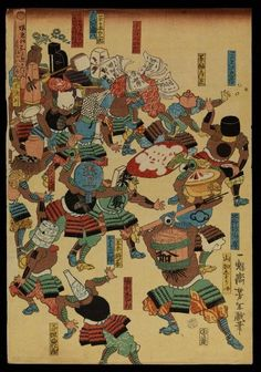 A riot of samurai, their heads replaced by objects by Taiso Yoshitoshi, 1859. The Wellcome Library, CC BY