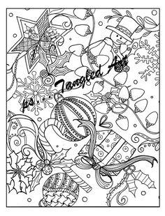 Instant down loadAdult and Children Coloring page by psTangledArt Colouring Pages, Coloring Pages For Kids, Christmas Coloring Pages, Christmas Colors, Zentangle, Children, Handmade Gifts, Etsy, Art