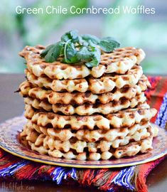 Green Chile Cornbread Waffles - These crunchy, cheese waffles are savory and super delicious - top them how you like for a fun, fast meal idea for breakfast, lunch and dinner! - TheFitFork.com
