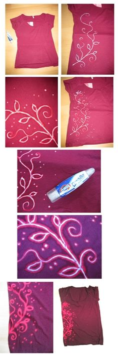 DIY Bleach pen technique on clothing. Looks similar to batik, but with none of the hot wax and ironing. Cute Crafts, Crafts To Do, Crafts For Kids, Arts And Crafts, Diy Crafts, Do It Yourself Baby, Do It Yourself Fashion, T-shirt Kunst, Fabric Crafts