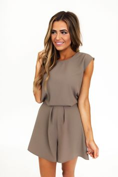 Taupe Tie/Button Back Romper - Dottie Couture Boutique