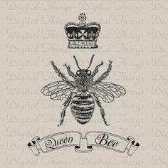 Queen+Bee+Tattoos   Bee With Crown Tattoo   Queen Bee Crown Script Digital Download for ...