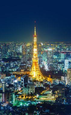 A night in Tokyo. Statute Of Liberty, Gustave Eiffel, Tokyo Tower, Ellis Island, Civil Engineering, Travel Packing, City Lights, Paris Skyline, Around The Worlds