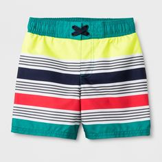 eac78454fb Gender: Male. Pattern: Stripe. Material: Recycled polyester.. Toddler Boys'  Striped Swim Trunks - Cat & Jack Turquoise 5T Blue ...
