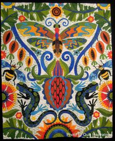 """Illinois Album, 60 x 70"""", by Jane Sassaman.  Winner of the Baby Lock Master Award for Innovative Artistry, 2013 Houston IQF, photo by Quilt Inspiration"""