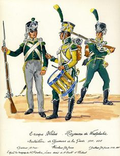Westphalia; Guard Chasseurs L to R Chasseur Petit Tenue, Drummer Grande Tenue & Chasseur Grand Tenue c.1812