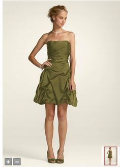 Bridesmaid dress. Short strapless pick up. from David's Bridal. color: fern