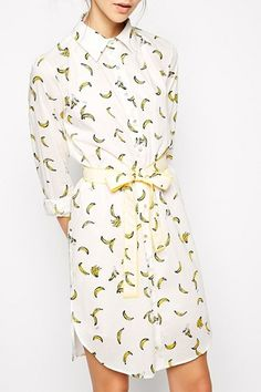 Banana Print Single-Breasted Midi Dress