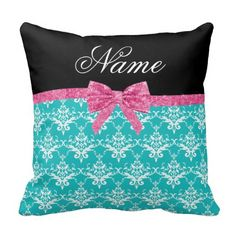 >>>The best place          Custom name turquoise damask pink glitter…