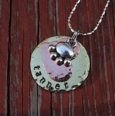Custom mixed metal name pendant by PANDoGMA on Etsy, $24.00