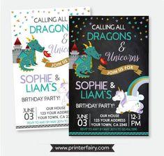 Dragon and Unicorn Birthday Invitation, Siblings Invitation, Magical Birthday Party, Personalized Printable Invitation, 2 Options Unicorn Birthday Invitations, Party Invitations Kids, Digital Invitations, Printable Invitations, Printables, Joint Birthday Parties, Unicorn Birthday Parties, Unicorn Party, Birthday Ideas