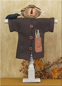 Primitive Country Rustic Vintage Autumn Scarecrow And Crow On Spindle Fall Decor Primitive Scarecrows, Scarecrow Crafts, Fall Scarecrows, Primitive Crafts, Primitive Country, Primitive Christmas, Country Christmas, Christmas Christmas, Cowboy Christmas