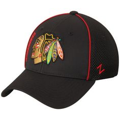 Chicago Blackhawks Zephyr Punisher Foam Mesh Flex Hat - Black
