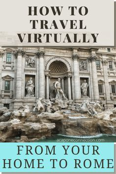 Links to popular tourist destinations in Rome with guided tours. Virtually experience the Trevi Fountain, Roman Colosseum, St. Peter's Basilica, the Vatican Museum, and a walking tour of Rome ~acaponeconnection.com #travel Italy Travel Tips, Rome Travel, Travel Destinations, Travel Info, Travel Europe, Usa Travel, European Travel, Travel Guides, Things To Do At Home