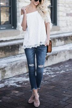 White Sexy Off Shoulder Lace Blouse