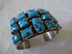 Signed Robert Shakey Vintage NAVAJO Sterling Silver & Turquoise Square Cluster Cuff BRACELET