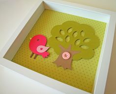 Pink Baby Bird - Kid's / Children's Room Decor - Pink & Green Nursery Decor - Baby Art. $20.00, via Etsy.