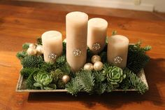 Christmas Advent Wreath, Silver Christmas Decorations, Easy Christmas Crafts, Christmas Candles, Simple Christmas, Christmas Holidays, Woodland Christmas, Outdoor Christmas, Diy Arts And Crafts