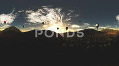 4K Balloons in Lush Natural Wilderness Jungle in the Sunset Sunrise VR 360 - Stock Footage | by boscorelli