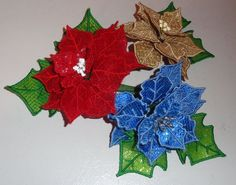Pam's 3D Embroidered Mylar Poinsettia