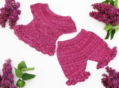 Purple set of top and pants for little lady by iziknittings, $44.00