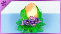 DIY How to make kanzashi Easter Egg with crocuses and feathers (ENG Subt...