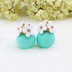 18色新しいファッションフラワーアクリルゴールドメッキイヤリングかわいいダブル花ボールスタッドピアス女性女の子卸売熱い