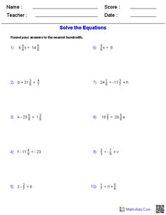 One Step Equations with Fractions Worksheet