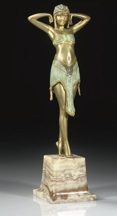 DEMETRE CHIPARUS | DANCER WITH SCARAB HALTER A COLD-PAINTED AND GILT-BRONZE FIGURE, CIRCA 1925