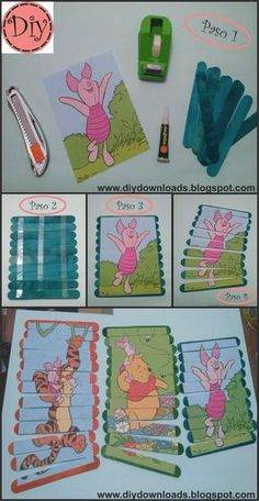 Today I bring you these Diy puzzles for the little ones in the house … I have … - Kinderspiele Toddler Learning Activities, Games For Toddlers, Infant Activities, Preschool Crafts, Preschool Activities, Craft Stick Crafts, Fun Crafts, Diy For Kids, Crafts For Kids