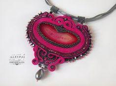 'Flamingo' soutache necklace with agate by nikkichou