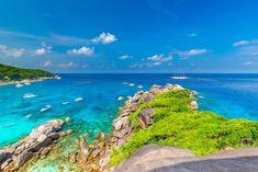 Similan Islands Beautiful tropical sandy beach and lush green foliage on a tropical island ,thailand Phuket Travel, Thailand Travel Guide, Bangkok Travel, Visit Thailand, Phuket Thailand, Thailand Vacation, Thai Elephant Conservation Center, Best Beaches In Phuket, Scuba Diving Thailand