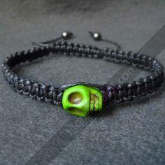 Handmade skull shamballa bracelet for man and for woman.  Pulseras para hombre, pulseras shamballa con calavera de magnesita 260
